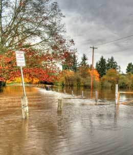 Flooding occurs only near water sources